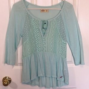 Hollister Mint Green Front Tie Shirt Top size XS